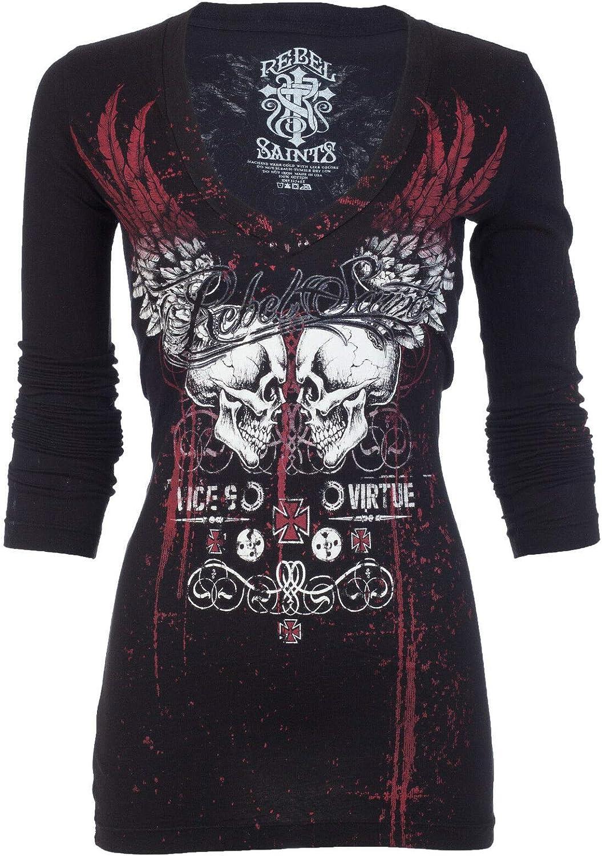 Affliction Rebel Saints Womens LS Biker T-Shirt Sinfu famous Garage New Orleans Mall