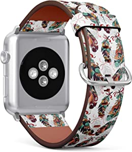 S-Type iWatch Leather Strap Printing Wristbands for Apple Watch 4/3/2/1 Sport Series (42mm) - Native American Tribal Colored Stylized Feathers Pattern