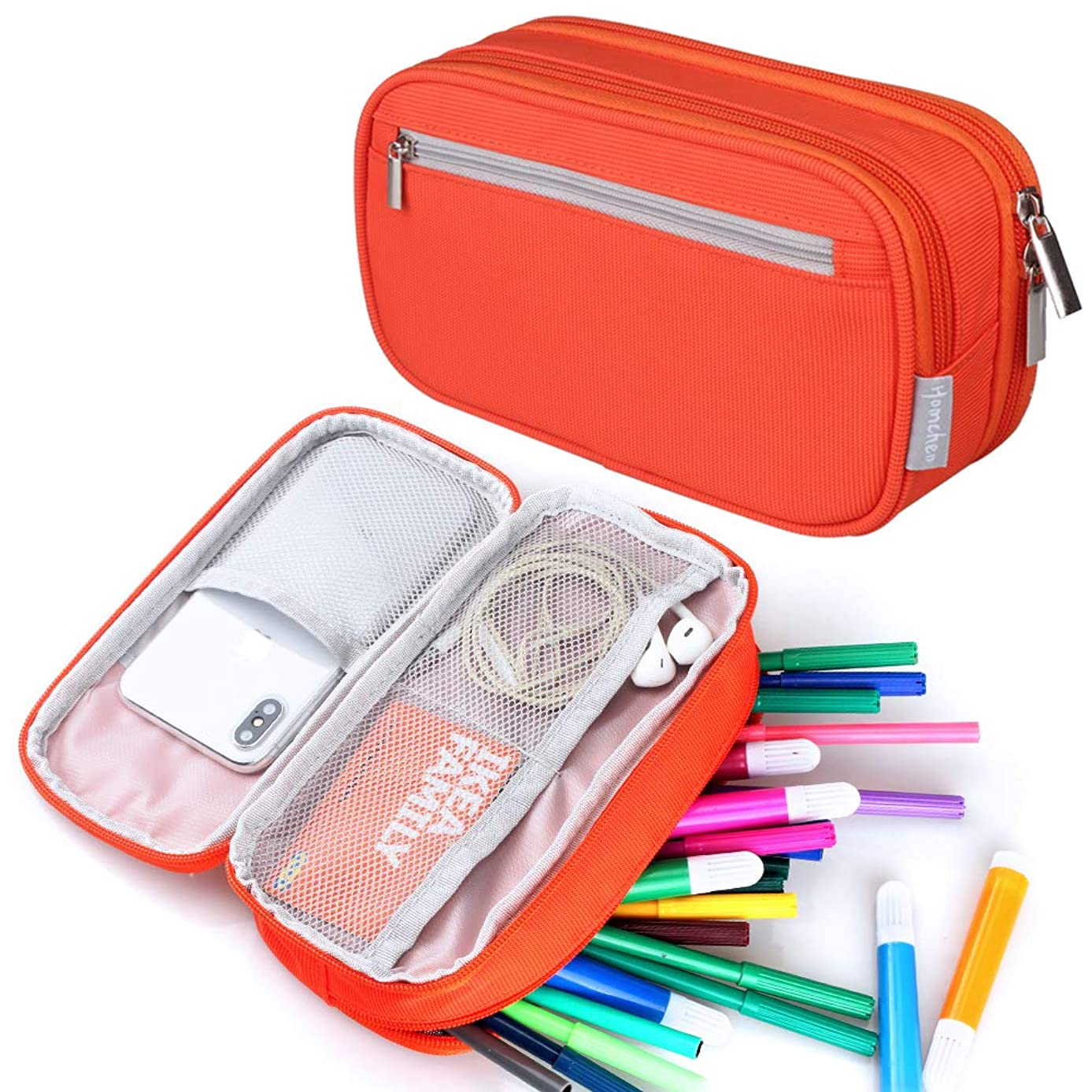 Large Capacity Pencil Case, Travel Make Up Cosmetic Bag Pouch Pencil Pen Bag Pouch Office Cable Bag with Multi Compartments for Women Girls School College Student Adults, Orange