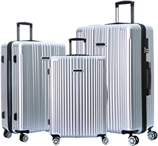 NaSaDen Hardshell Luggage Sets with Spinner Wheels Checked and Carry On Luggage [ Bamberg Silver ] 29 Inch 26 inch 22 Inch 3 Piece Set German Design TSA Lock ABS+PC