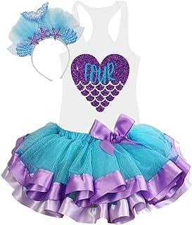 4th Birthday Tutu Outfits for Toddlers Girls Mermaid Theme Glitter Handmade