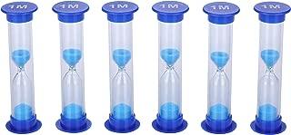 I-MART 6 Pcs Plastic 1 Minute Sand Timer Sandglass Hourglass Sand Clock, Blue