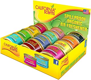 California Scents Spill-Proof Organic Air Freshener, 12-Pack Assorted Fragrances, Fresh & Bold, 1.5 Ounce Canister (12 Count)