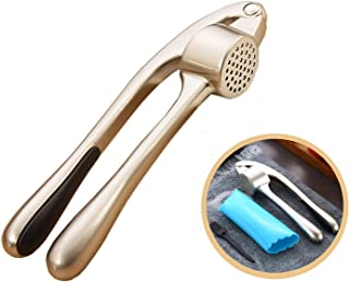 Tyzine Garlic Press Professional Zinc Alloy Heavy Soft-Handled Crush Garlic with Silicone Tube Roller and Cleaning Brush (Champagne-3PCS)
