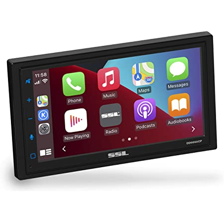 Sound Storm Laboratories DD988ACP Apple CarPlay Android Auto Car Multimedia Player - Double-Din, 6.75 Inch LCD Touchscreen, Bluetooth, USB, Aux in, No CD-DVD, AM/FM Car Radio, Multi Color Illumination