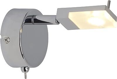 Brilliant Hajo Wandspot mit Schalter, 1x 3W LED integriert, 170LM, 3000K Inklusive, Metall/Kunststoff, chrom/weiß G16411/15