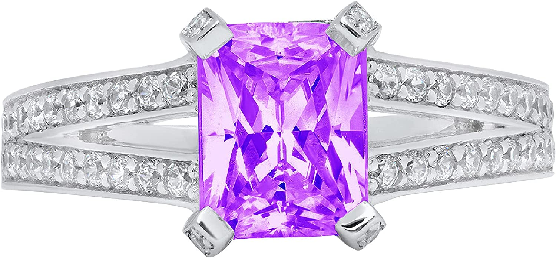 Clara Pucci 2.8 ct Emerald Cut Accent shank split Stun Solitaire Colorado Springs Mall Super sale period limited