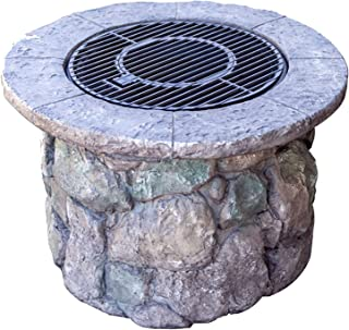 Outdoor Fire Pit Garden BBQ Wood Burning Fire Pit Bowl, 90cm Outdoor Imitation Stone Heater Fireplace, Used For Backyard P...
