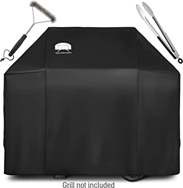 Texas Grill Covers - Grill Cover for Weber Spirit II 300, Sprit 300 and Spirit 200 Series / 7106 - Heavy Duty/Rip-Proof UV Resistant Fabric - Grill Brush and Barbecue Tongs Included- Black