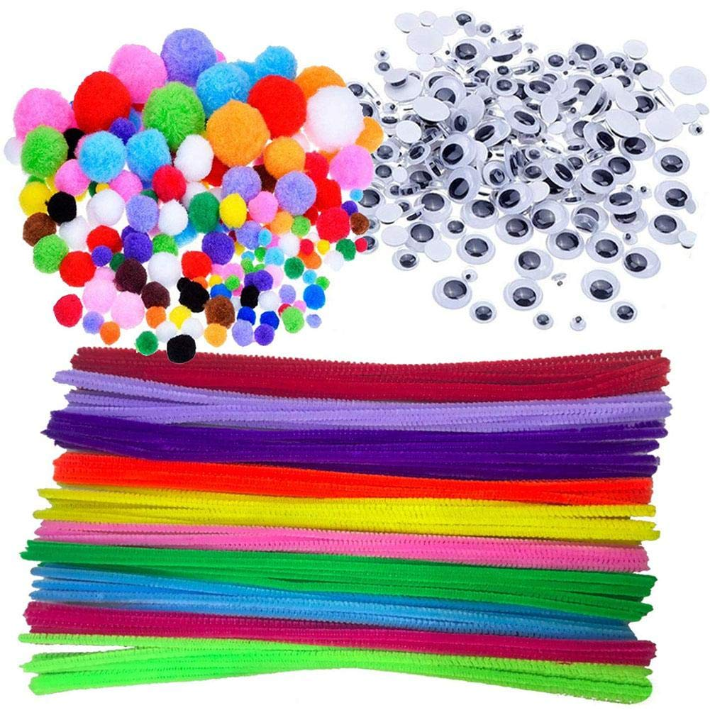 100 Pipe Cleaners, 250 Pom Poms, 150 Googly Eyes 500pcs Pipe Cleaners Craft Set MOREFUN Chenille Stems Pompoms Wiggle Googly Eyes Assortment of DIY Supplies for Kids Art Projects Educational Toys