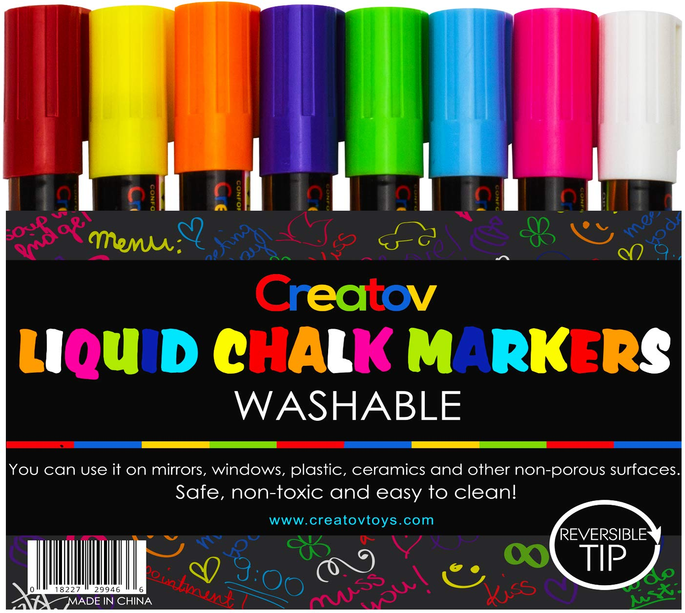 Liquid Chalk Washable Markers 8 Colored Chalk Markers Neon White Safe Easy To Use Non Toxic Great For All Ages By Creatov By Creatova A Amazon Co Uk Kitchen Home