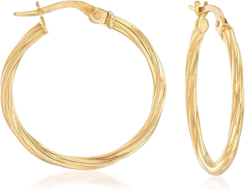 Ross-Simons Italian 18kt Yellow Gold Twisted Hoop Earrings