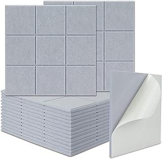 BXI - Juego de 16 paneles de absorción acústica Sudoku autoadhesivos, 30.5 x 30.4 cm (gris luna)