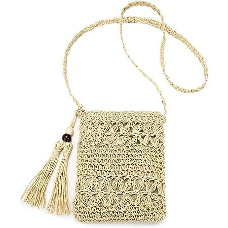 JOSEKO Stroh Crossbody Tasche, Damen Umhängetasche Sommer Strand Vintage Handarbeit Einkaufstasche Woven Handtasche Frauen Stroh Gestrickt Messenger Tasche