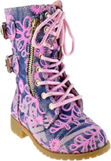 Girls Mango 61K Lace Up Boots | Combat Boots for Girls | Zipper Boots | Toddler Girl Shoes | Little Girl Shoes
