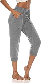 DIBAOLONG Womens Capris Pants Casual Summer Loose Comfy Yoga Joggers Drawstrimg Crop Capris with Pockets
