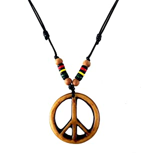 LAVIP Leather Peace Sign Pendant -Peace Symbol Necklace Rasta Plaid Hippie Braid Hemp Hawaiian