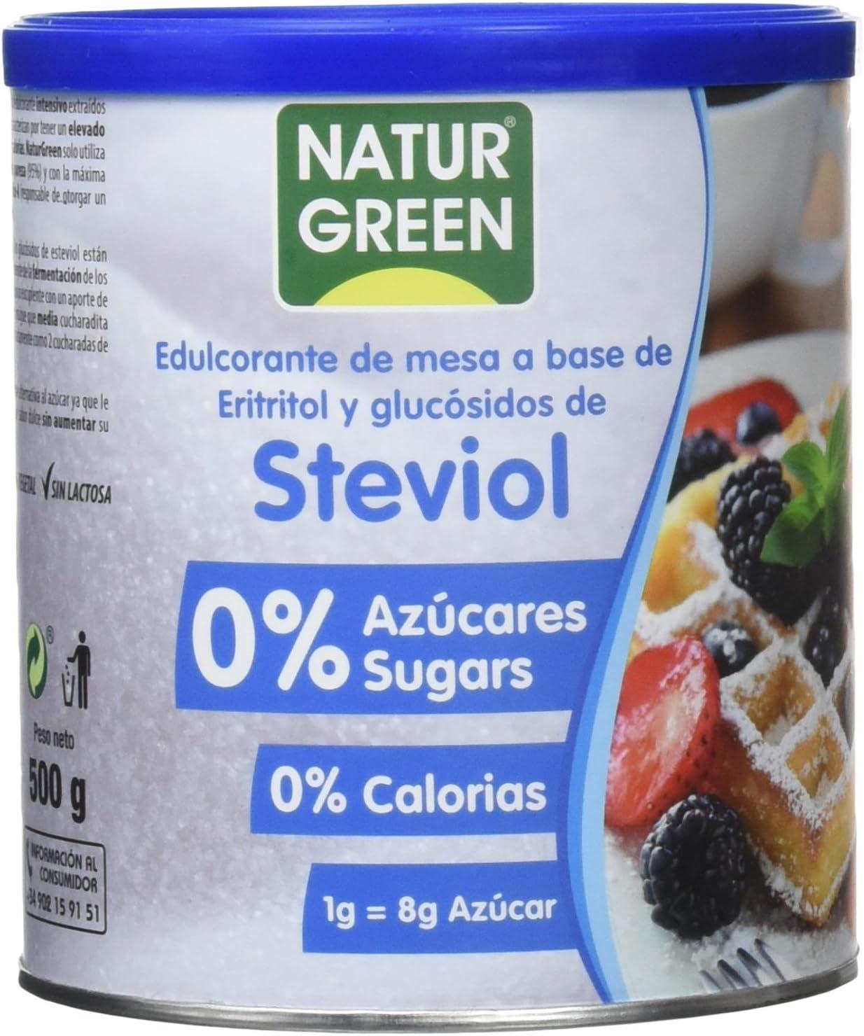 NATURGREEN Steviol, Edulcorante Natural, con Base de Eritritol, Sustitutivo del Azúcar, Orgánico, 100% Vegetal, Bajo Índice Glucémico, 500 Gramos