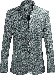 BEBIG Men Single Breasted Stand Collar Suit Blazer Slim Fit Formal Coat Jacket