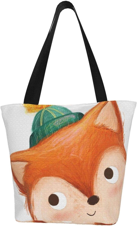 Cute Naughty Fox Art Animals Themed Printed Women Canvas Handbag Zipper Shoulder Bag Work Booksbag Tote Purse Leisure Hobo Bag For Shopping