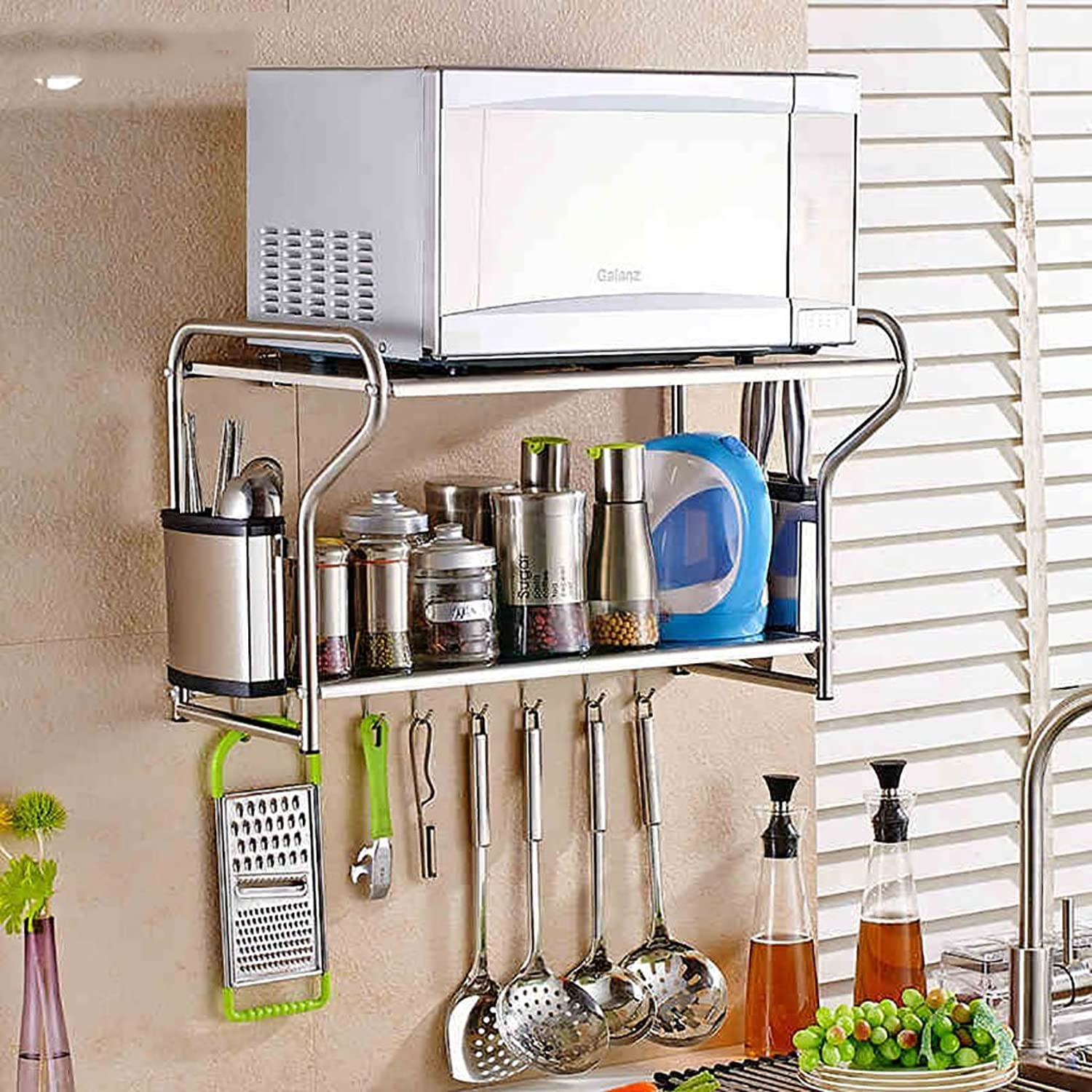 Kitchen shelf Kitchen storage rack,Practical Wall Mounted Microwave Oven Rack Spice Cooker Shelf Multifunction Stainless Steel Kitchen Dressers Sideboards Long 53   58cm, 4 Styles kitchen storage racks ( color   D , Size   53cm )