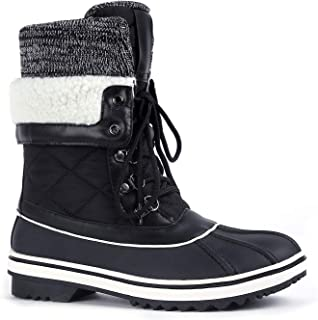 Greatonu Womens Winter Snow Boots Waterproof Lace Up Yard Mucker Boots