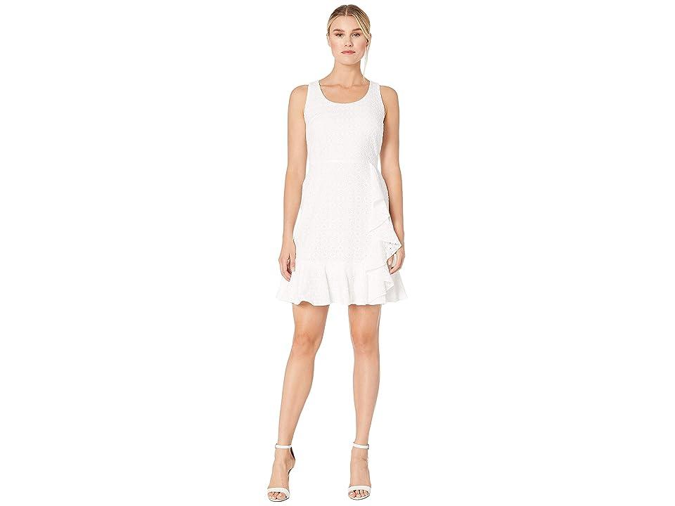 Nine West Cotton Eyelet Scoop Neck Ruffle Skirt Dress (White) Women