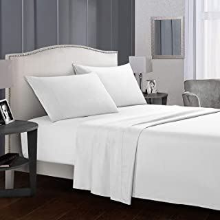 JUWENIN, Bed Sheets Set Luxury Quality Wrinkle and Fade Resistant-Microfiber Sheet Sets (Twin, White)