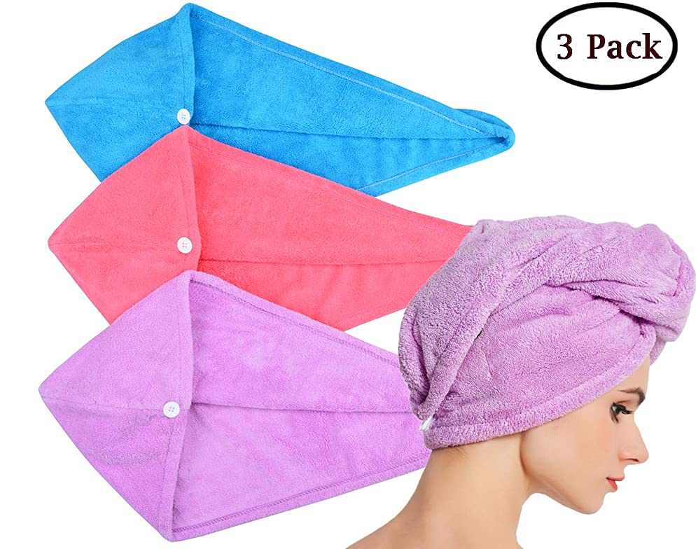 HOPESHINE Microfiber Hair Drying Towel Turban Twist for Long Hair Wrap Towels Fast Drying Absorbent Cap Great Gift for Women and Girls (Blue+Purple+Rose Red 3-Pack)