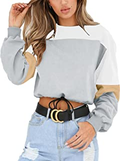 Womens Sweatshirt-Long Sleeve Drawstring Hem Color Block Crop Top Pullover Tops
