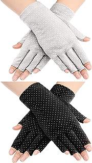 2 Pairs Sunblock Fingerless Gloves Non-slip UV Protection Driving Gloves Summer Outdoor Gloves for Women and Girls