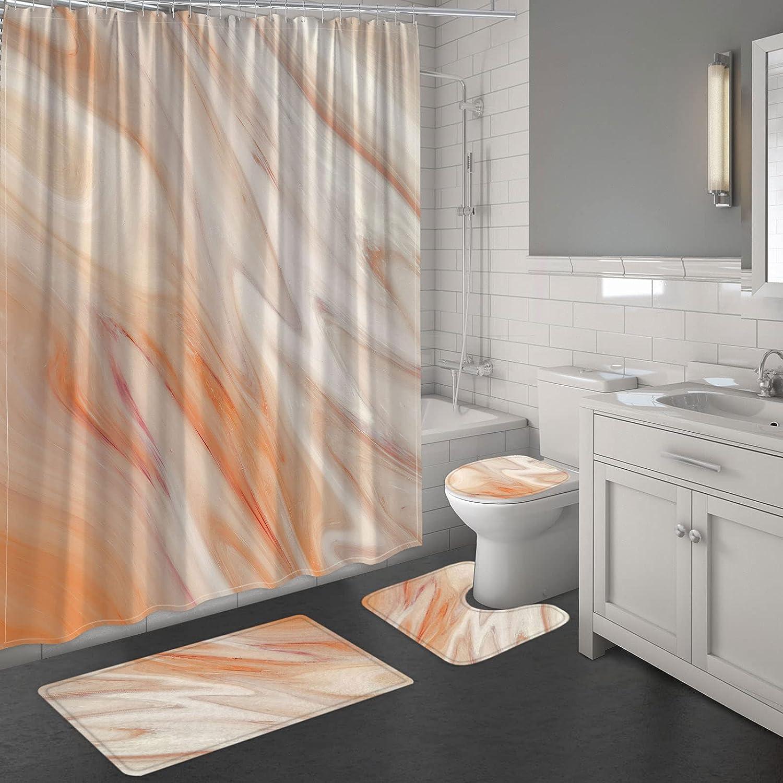 MitoVilla 4 Pcs Orange 数量限定アウトレット最安価格 ※ラッピング ※ Bathroom Sets Shower with Curtain Rug and