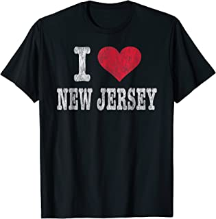 Distressed Retro I Love New Jersey T-Shirt Souvenir Gift