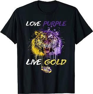 LSU Tigers Love Purple Live Gold - Tiger Head T-Shirt