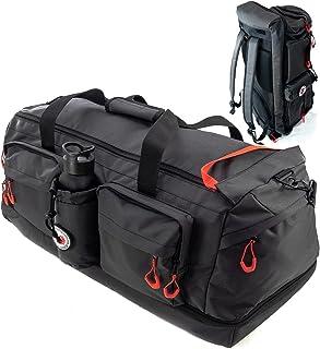 RYP-DO Sporttasche 3 in 1 - Reisetasche Schwarz - Rucksackfunktion - 70+ Liter mit 7 Taschen, Trennwänden und separatem Bo...