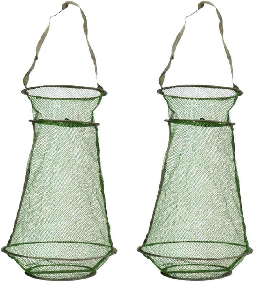 HomDeak Award-winning store 2Pcs Lightweight SALENEW very popular Mesh Fishing Fish Net Foldable Cag Trap