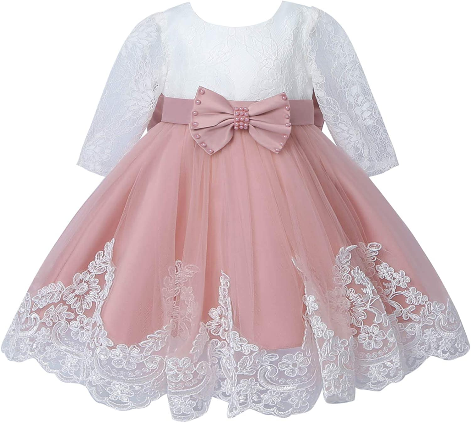 YONGHS Toddler Girls Lace Embroidered Flower Girl Dress Kids Bowknot Mesh Tutu Wedding Party Pageant Gown