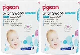 Pigeon Thin Stem Cotton Swabs (200 Tips, Pack of 2)