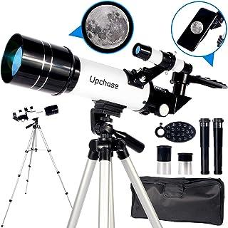 Upchase Telescopio Astronomico,Portátil y Potente Refractor Telescopio,400/70mm Zoom HD,Ajustable Trípode, Adaptador Móvi...