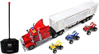 AJ Toys & Games Remote Control RC Transporter Trailer Semi Truck Ready to Run W/ 3 Toy ATVs (Colors May Vary) for Kids, Children, Great Gift!