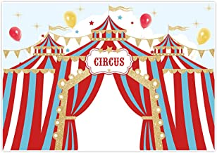 GoEoo 5x5ft Circus Backdrop Red Stripe Tent Baby Shower Photoshoot Wallpaper Kids Children Birthday Party Photography Background Photo Booth Props