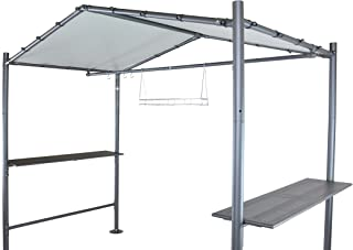 SORARA Grill Gazebo 9' x 5' Outdoor Backyard BBQ Soft Top Gazebo with Steel Canopy, Grey