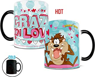 Morphing Mugs Looney Tunes Taz Crazy in Love Valentines Day Heat Reveal Ceramic Coffee Mug - 11 Ounces