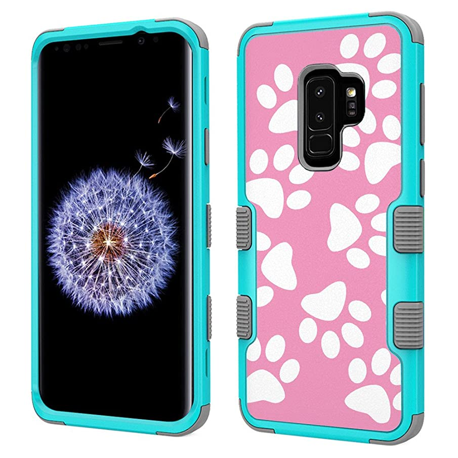 Shockproof Case for Samsung Galaxy S9 PLUS / S9+, One Tough Shield 3-Layer Hybrid Protector Phone Case (Teal/Grey) - Pet Paw/ Pink