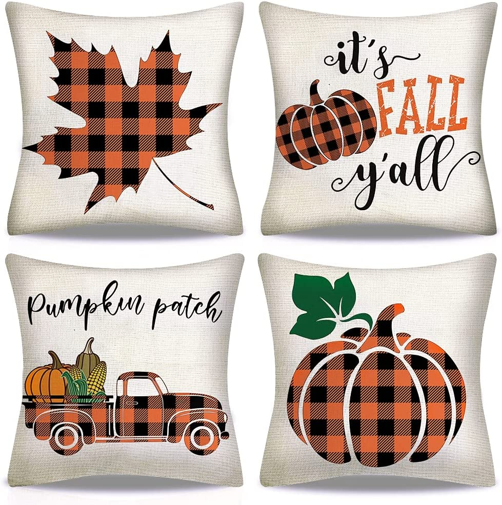 AMENON 4Pack Fall Decor Pillow Covers 18x18 inch Fall Decorations Thanksgiving Buffalo Check Plaid Pumpkin Maple Leaf Throw Pillows for Fall Farmhouse Decorative Indoor Outdoor Decor Holiday Pillows