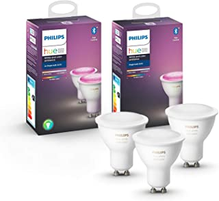Philips Hue Pack de 2 Bombillas Inteligentes LED GU10, con Bluetooth, Luz Blanca y Color + Bombilla Inteligente LED GU10, ...