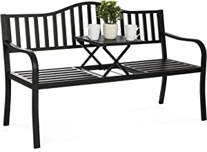 Best Choice Products Double Seat Cast Iron Patio Bench for Garden, Backyard w/ Pullout Middle Table, Weather Resistant Steel Frame - Black