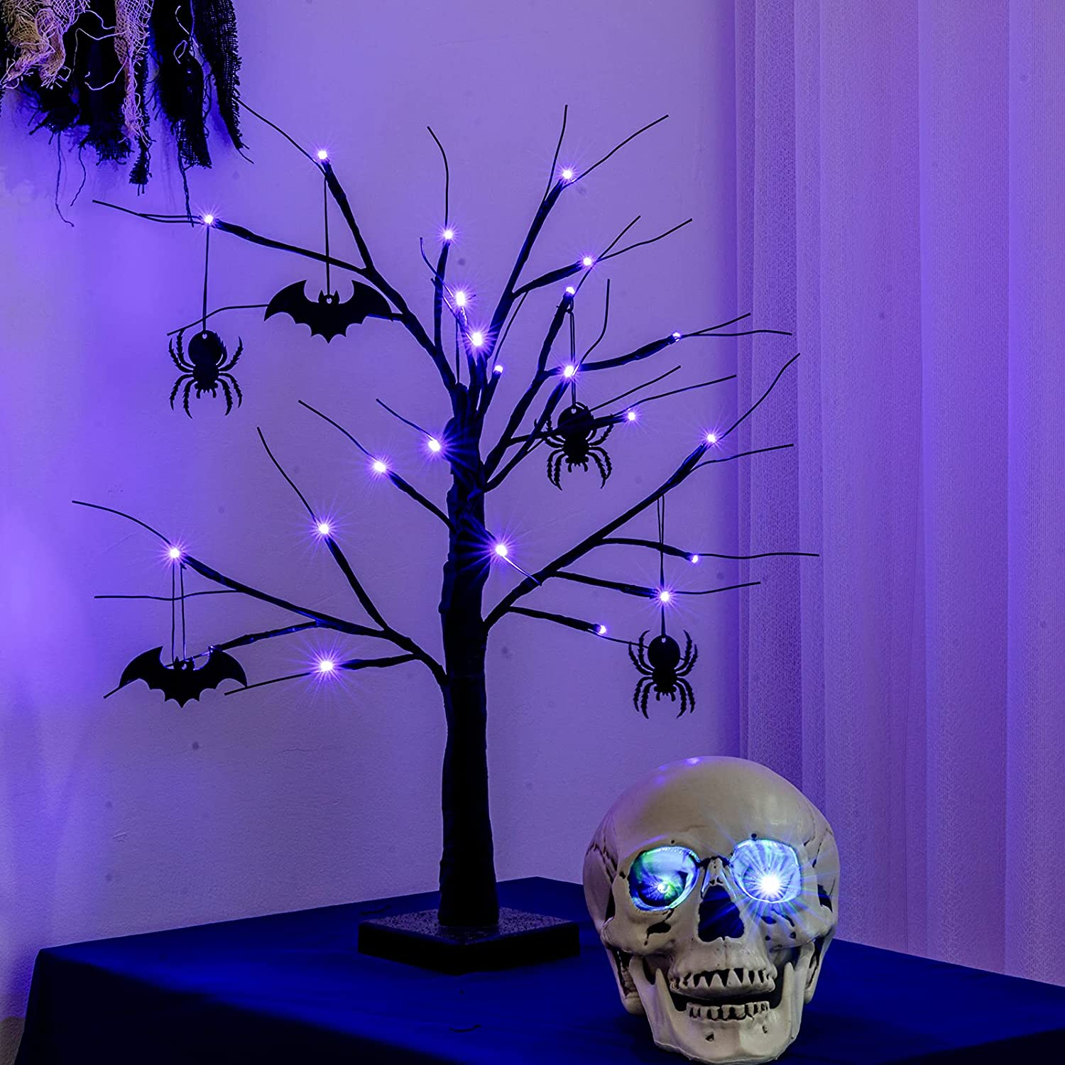 YEAHOME 2FT Black Spooky Halloween Tree Light with 24 LED Purple Lights, 4 Bats and 4 Spiders for Halloween Decorations Battery Operated Indoor Outdoor Decor for Home, Table, Porch