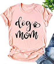 Dog Mom Tshirts for Women Funny Dog Paw Graphic Tees Short Sleeve Shirt Tops for Dog Lovers