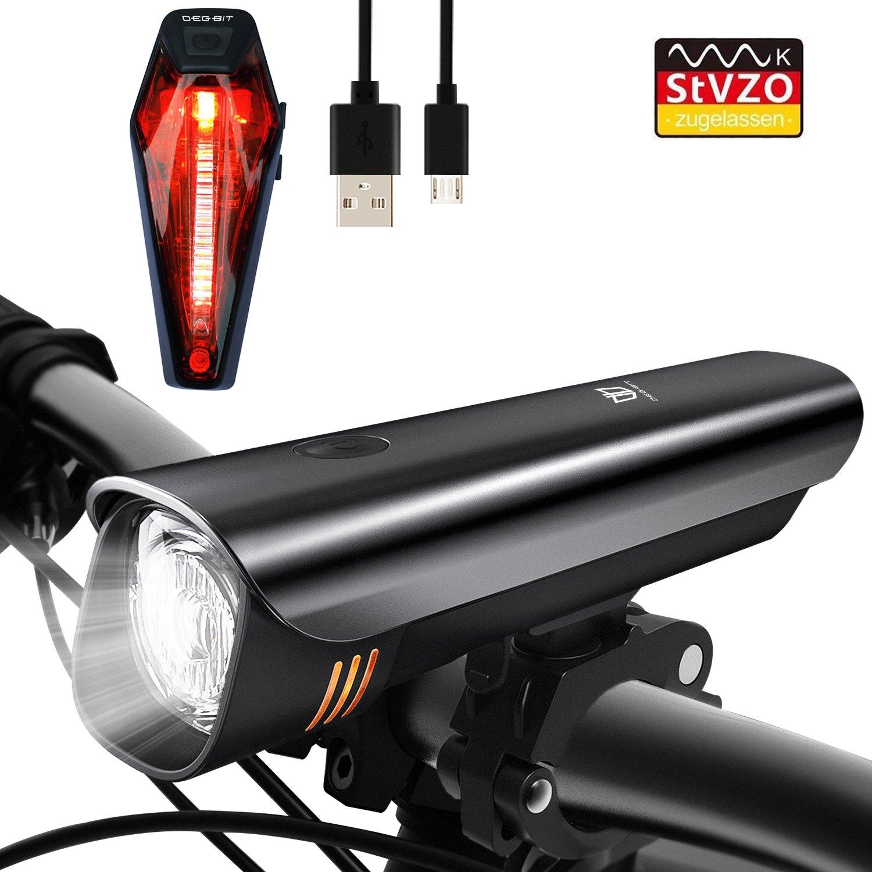 Degbit Luz de Bicicleta, USB Recargable Luz de Bicicleta Fija Luz ...